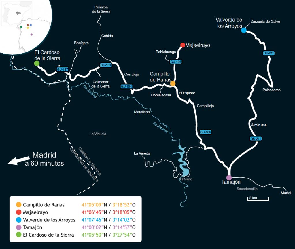 mapa parque natural sierra norte de guadalajara